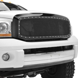 Dodge Ram 2006-2008 1500 2500 Stainless Black Mesh Grille Replacement W Rivets