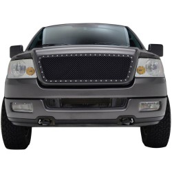 2004-2008 Ford F 150 Glossy Black Riveted Style stainless Mesh Grille Replacement