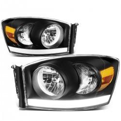 Dodge Ram 1500 2500 2006-2008 Black Housing DRL Cobb headlights