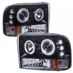 Angel Eye Projector Black  /Clear 1999-2004 Ford F 250 350 Super Duty Headlights
