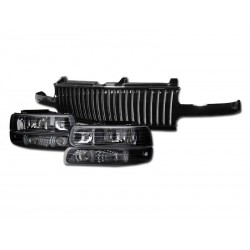 Chevy Silverado 1999-2002 /00-06 Tahoe Grille shell mesh black and headlights combo