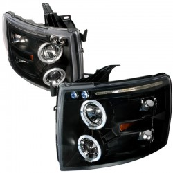 Chevy Silverado 2007-2013 1500  Black Angel Eye Projector Headlights