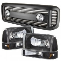 1999-2004 Ford F-250 F-350 Super duty black Grille abs shell replacement with headlights