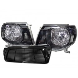 2005-2010 toyota tacoma black headlights with black horizontal grille shell