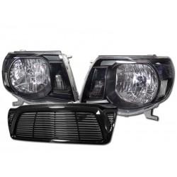 2005-2010 toyota tacoma black headlights with black horizontal grille shell