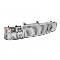 Chevy Silverado 1999-2002 /00-06 Tahoe Grille shell billet style  black and headlights combo