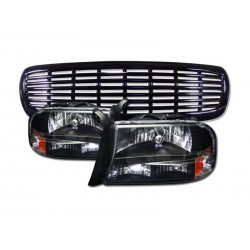 Dodge Dakota/Durango 1997-2004 black housing headlights with black grille