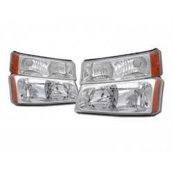 2003-2006 Chevy Silverado chrome amber  housing headlights