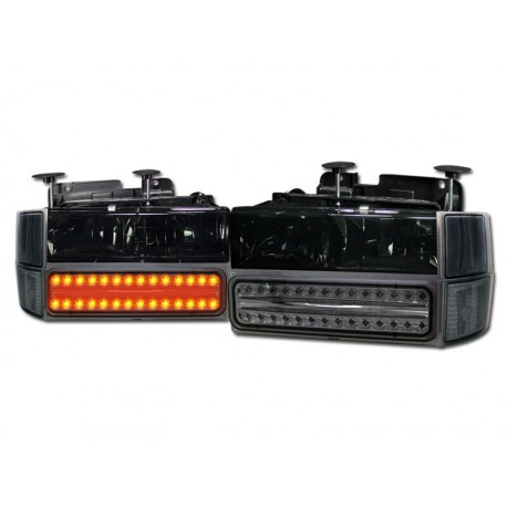 1994-1998 chevy c-10 tahoe suburban  smoke combo headlights  and led smoke parking lights and smoke corners