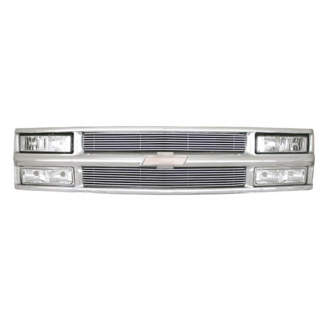 1994-1998 chevy c-10 tahoe suburban  combo headlights grille with 4mm billet aliminum grile