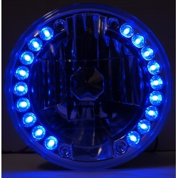 "LED 7""Round conversion headlights with blue led side lights"