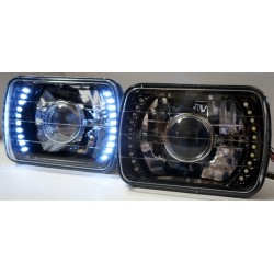 7x6 Headlights Black Housing  Leds projector with white led side lights