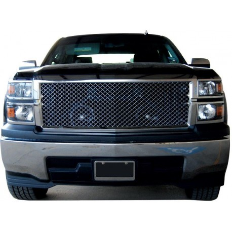 2015-2016 Chevy Silverado 1500 LT Chrome Mesh ABS Replacement Grille Shell