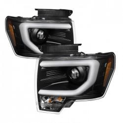 2009-2014 ford f150 c bar halo projectors optic led black housing