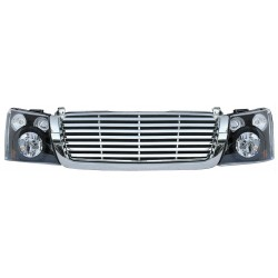 2003-2006 Chevy Silverado black housing headlights with chrome grille horizontal