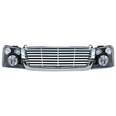 2003-2006 Chevy Silverado chrome housing headlights with chrome grille horizontal