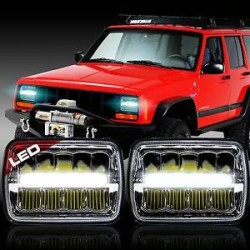 1993-98 Jeep Cherokee  Headlights Chrome  Housing  with Led drl headlights