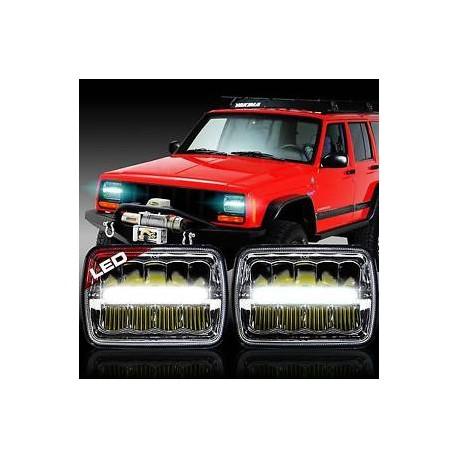 1993-98 Jeep Cherokee  Headlights Chrome  Housing  with Led drl headlights