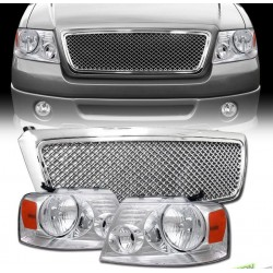 2004-2008 Ford F150 Chrome mesh grille with chrome headlights w amber reflector