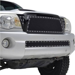 2005-2011 TOYOTA TACOMA STAINLEDD BLACK MESH GRILLE REPLACEMENT WITH RIVETS