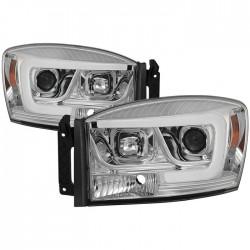 OPTIC LED HALO 2006-2008 DODGE RAM 1500/2500/3500 CHROME HEADLIGHT PROJECTORS