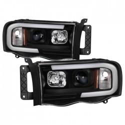 OPTIC LED HALO 2002-2005 DODGE RAM 1500/2500/3500 BLACK HEADLIGHT PROJECTORS