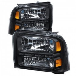 2005-2007 FORD F250/350 BLACK HEADLIGHTS WITH DRL RUNNING LIGHTS