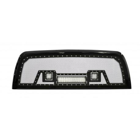 """2010-14 DODGE RAM 2500 / 3500 HD w/ 12"""" Light Bar and 2 2""""LED Lights w/ Rivets"""