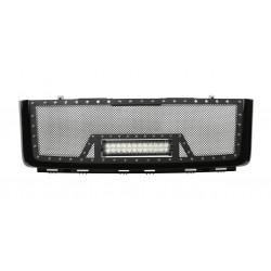 """2007-2013 GMC SIERRA 1500 Grille w/ 12"""" LED Light Bar /w Rivets"""