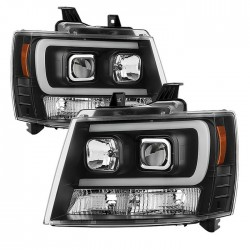 2007-2013 CHEVY TAHOE SUBURBAN C BAR BLACK HALO PROJECTOR HEADLIGHTS