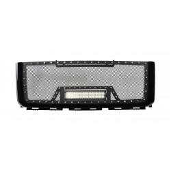 """2007-2010 GMC SIERRA 2500 / 3500 HD Grille w/ 1 12"""" LED Light Bar w/ Rivets"""